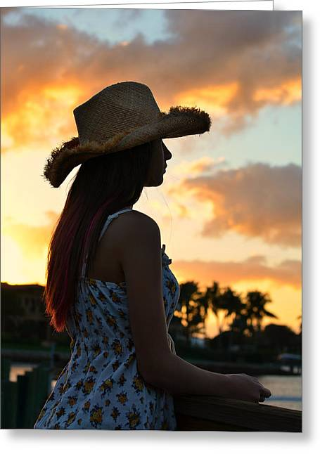 Cowgirl Sunset Greeting Card by Laura Fasulo