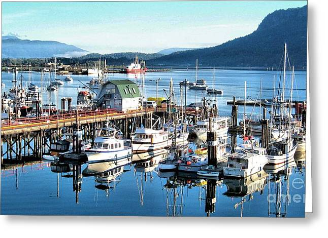 Cowichan Bay Marina  Bc Greeting Card by Claudette Bujold-Poirier