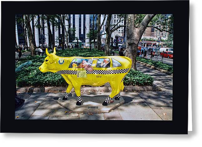 Cow Parade N Y C 2000 - Taxi Cow Greeting Card by Allen Beatty