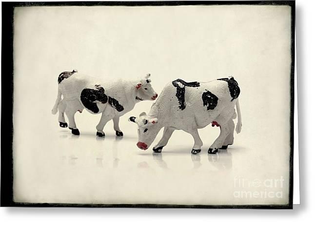 Cows Figurines Greeting Card by Bernard Jaubert