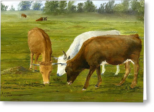 Greeting Card featuring the painting Cows Gossip Session In Louisiana Pasture by Lenora  De Lude