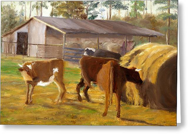 Greeting Card featuring the painting Cows Hay And Barn In Louisiana by Lenora  De Lude