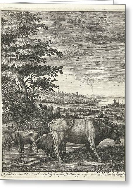 Cows In A Landscape, Hendrick Hondius Greeting Card by Hendrick Hondius (i)