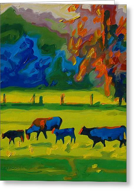 Cows In Texas Field At Sunset Oil Painting By Bertram Poole Greeting Card