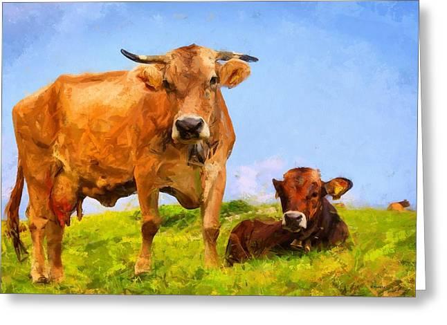Cows Greeting Card by Kai Saarto