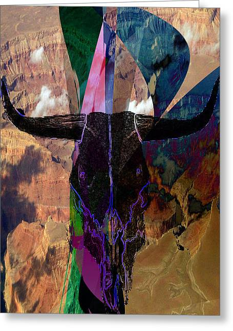 Greeting Card featuring the digital art Cowskull Over The Canyon by Cathy Anderson