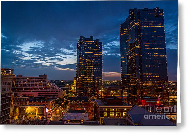 Cowtown At Night Greeting Card