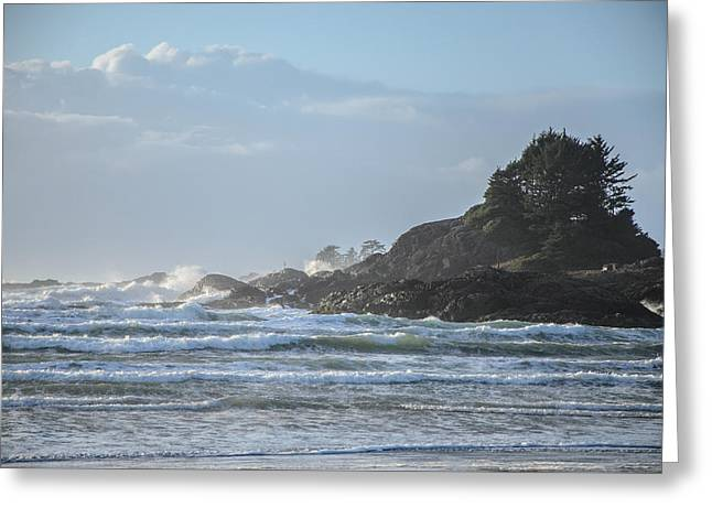 Cox Bay Afternoon Waves Greeting Card by Roxy Hurtubise