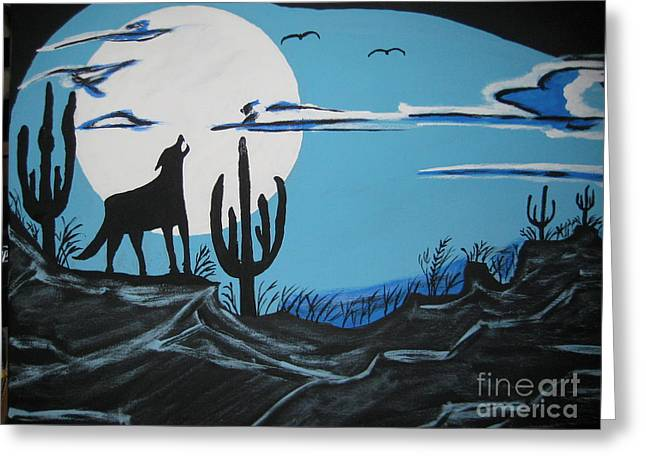 Greeting Card featuring the painting Coyote by Jeffrey Koss