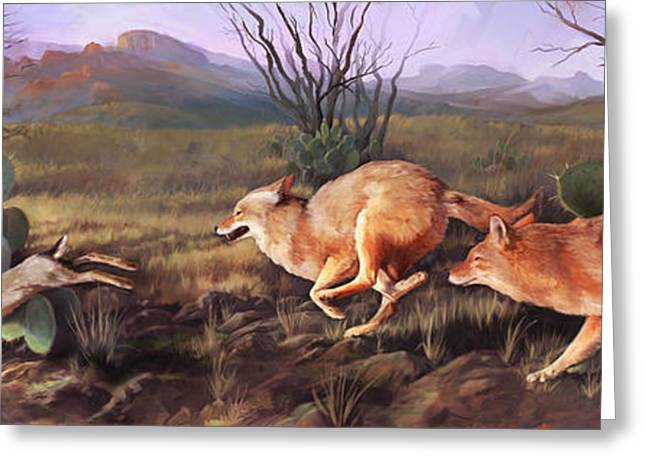 Greeting Card featuring the painting Coyote Run by Rob Corsetti
