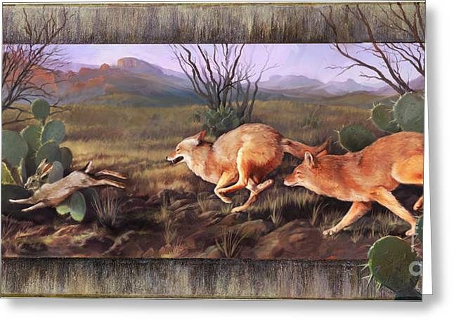 Greeting Card featuring the painting Coyote Run With Boarder by Rob Corsetti
