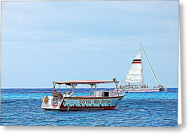 Greeting Card featuring the photograph Cozumel Excursion Boats by Debra Martz