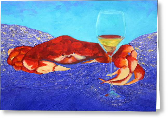Crab And Chardonnay Greeting Card by Nancy Jolley