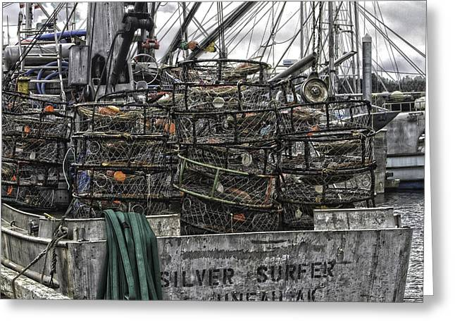 Crab Traps Greeting Card by Timothy Latta