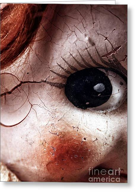 Cracked Eye Greeting Card by John Rizzuto