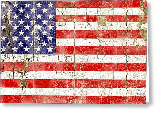Cracked Stars And Stripes Greeting Card