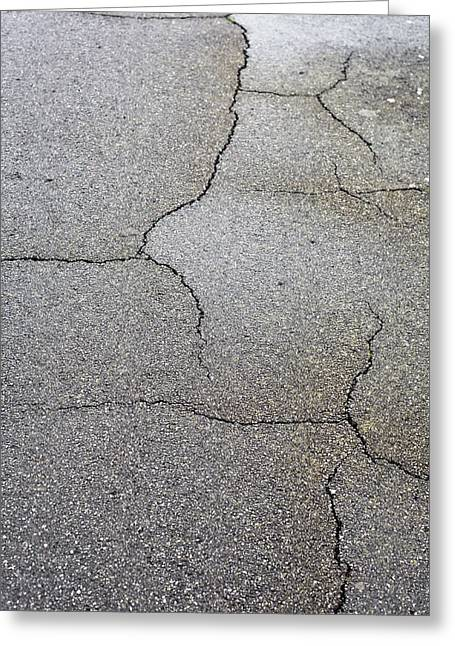 Cracked Tarmac Greeting Card by Tom Gowanlock