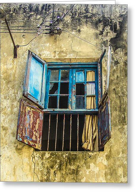 Cracked Window Greeting Card by Alex Hiemstra