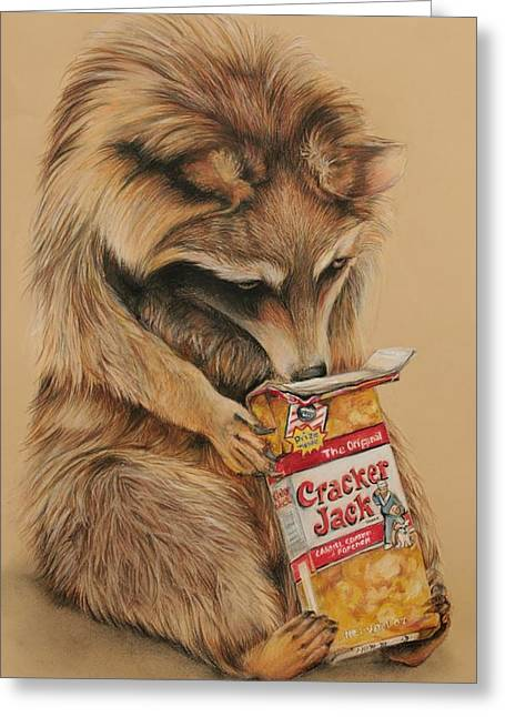 Cracker Jack Bandit Greeting Card by Jean Cormier