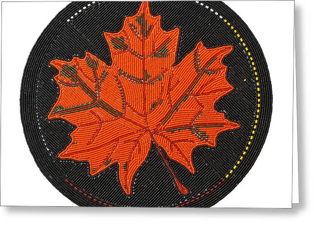 Cradleboard Beadwork Fall Maple Leaf Greeting Card