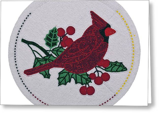 Cradleboard Beadwork Winter Cardinal Greeting Card