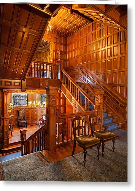 Craigdarroch Castle Stairwell Greeting Card by Mike Reid
