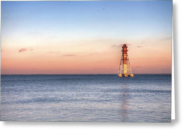 Craighill Channel Lighthouse Greeting Card by JC Findley