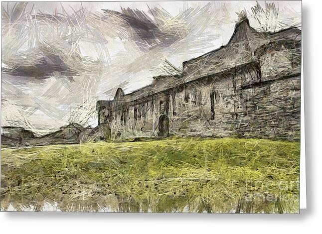 Craigmillar Castle Pencil Drawing Greeting Card