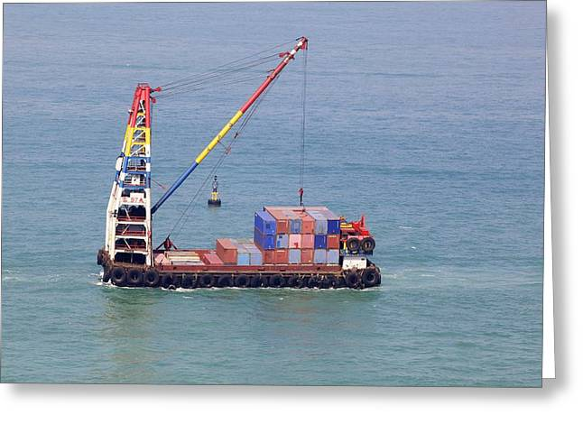 Crane Barge With Cargo Greeting Card by Science Photo Library