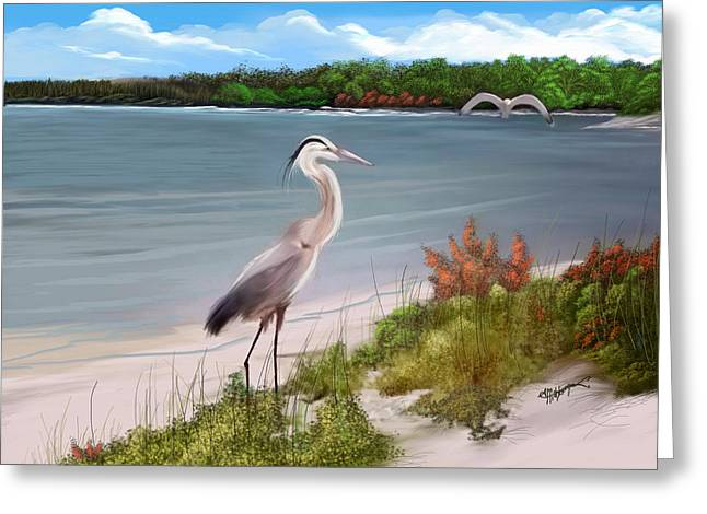 Crane By The Sea Shore Greeting Card by Anthony Fishburne