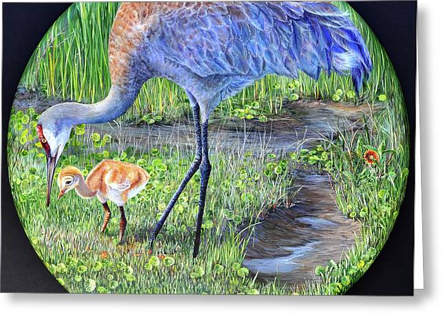 Greeting Card featuring the painting Crane Circle by AnnaJo Vahle