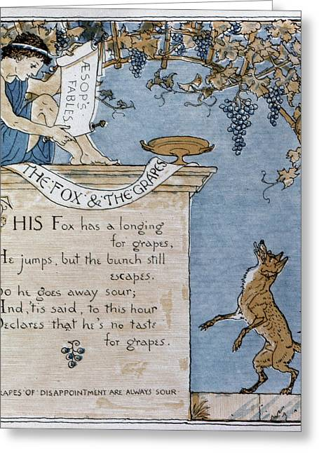 Crane Fox And The Grapes Greeting Card