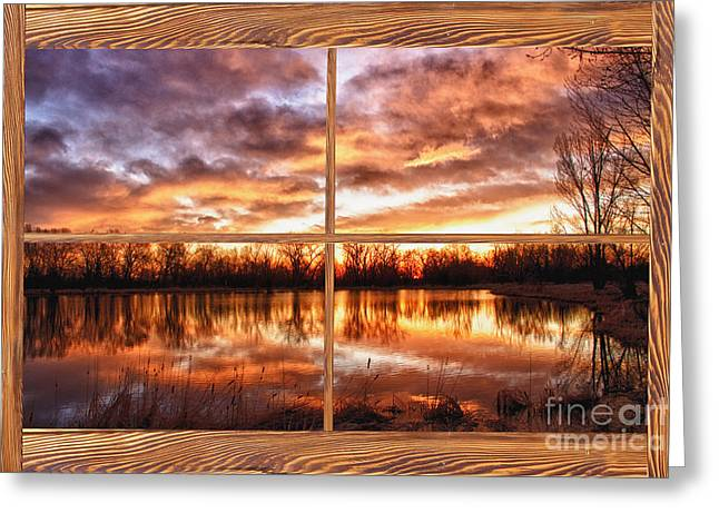 Crane Hollow Sunrise Barn Wood Picture Window Frame View Greeting Card by James BO  Insogna