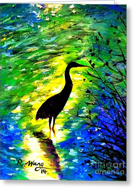Crane In Lake Greeting Card