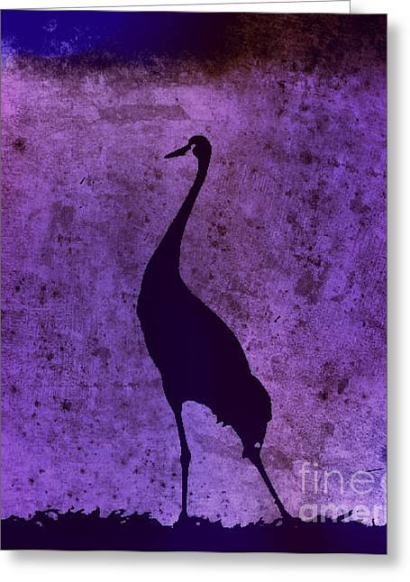 Crane In Vintage Plum Greeting Card by Anita Lewis