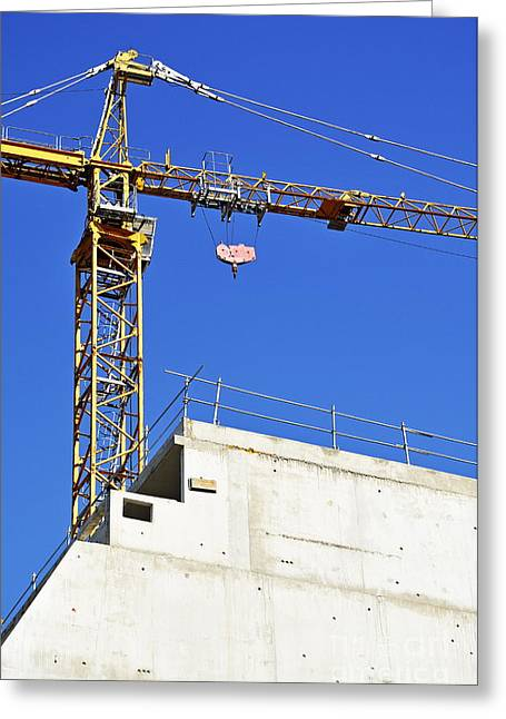 Crane On Construction Site Greeting Card by Sami Sarkis