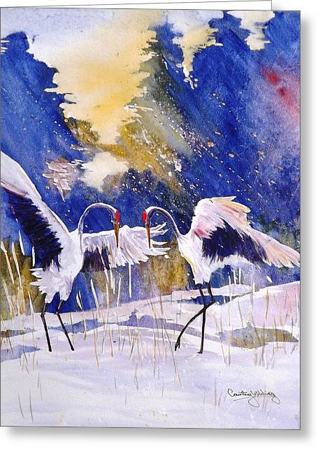 Cranes In Winter Inspired By Quan Zhen Greeting Card