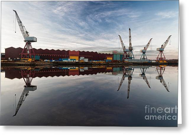 Cranes On The Clyde  Greeting Card by John Farnan