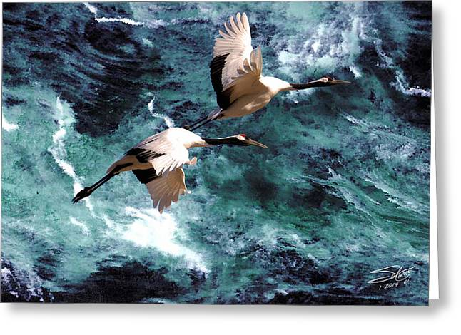 Cranes Over The Sea Of Japan Greeting Card