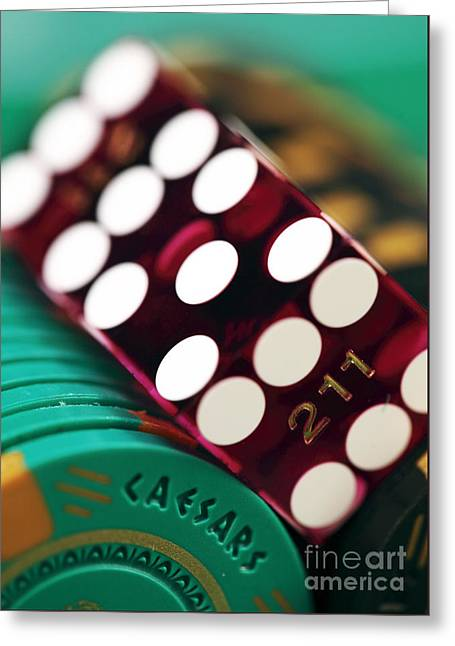 Craps At Caesars Greeting Card by John Rizzuto