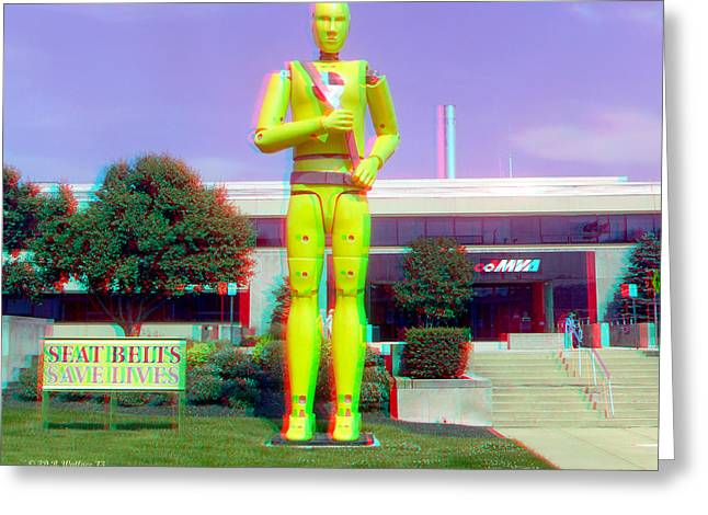 Crash Dummy Statue - Use Red/cyan Filtered 3d Glasses Greeting Card