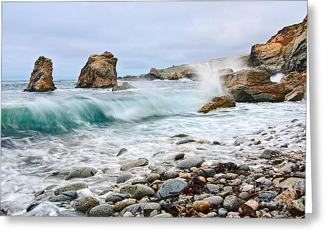 Crash - Waves From Soberanes Point In Garrapata State P Greeting Card by Jamie Pham