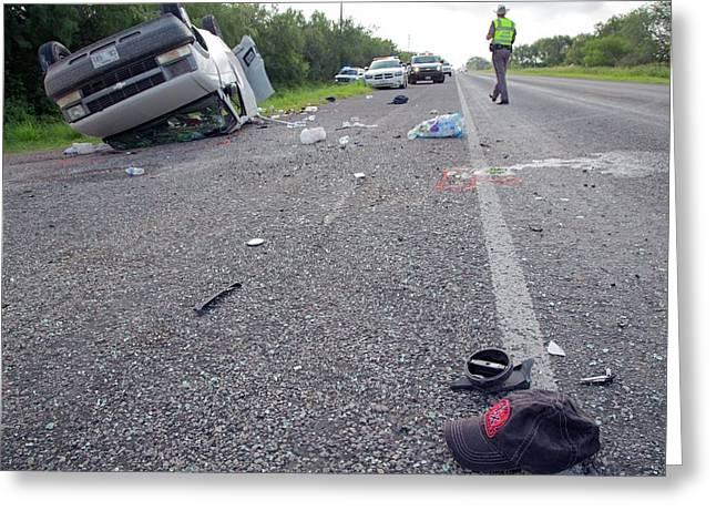 Crashed Van Greeting Card