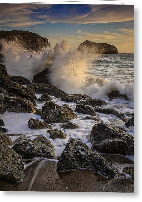 Crashing Sunset Greeting Card by Rick Berk