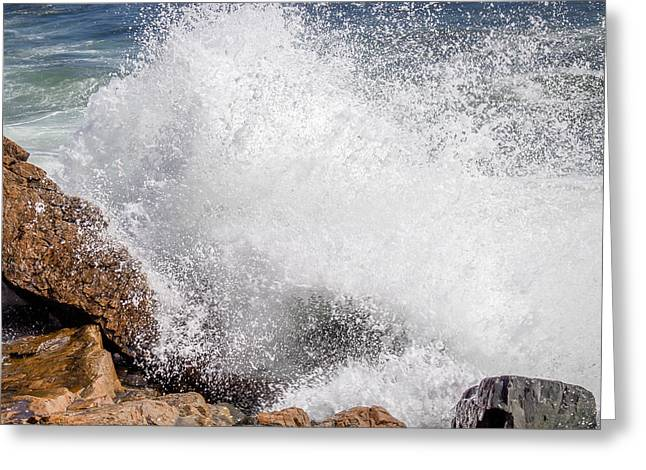 Crashing Wave Acadia  Greeting Card