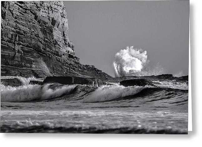 Crashing Waves At Cabrillo By Denise Dube Greeting Card
