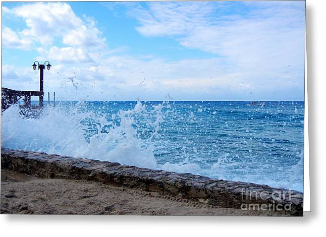 Greeting Card featuring the photograph Crashing Waves In Cozumel by Debra Martz
