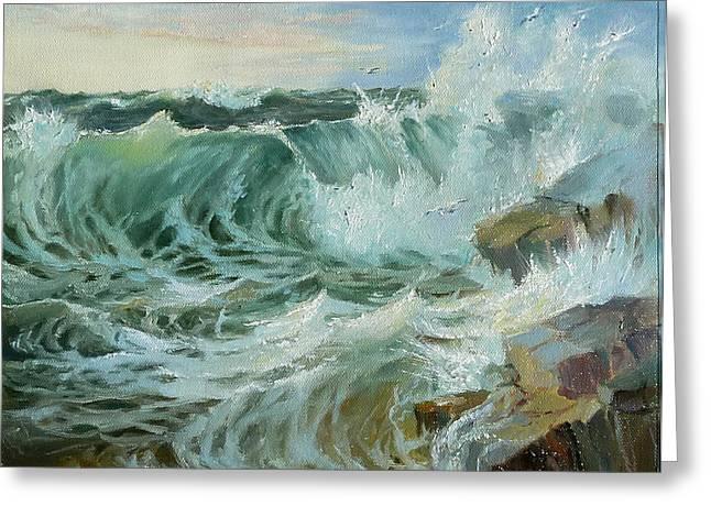Crashing Waves Greeting Card by Lori Ippolito