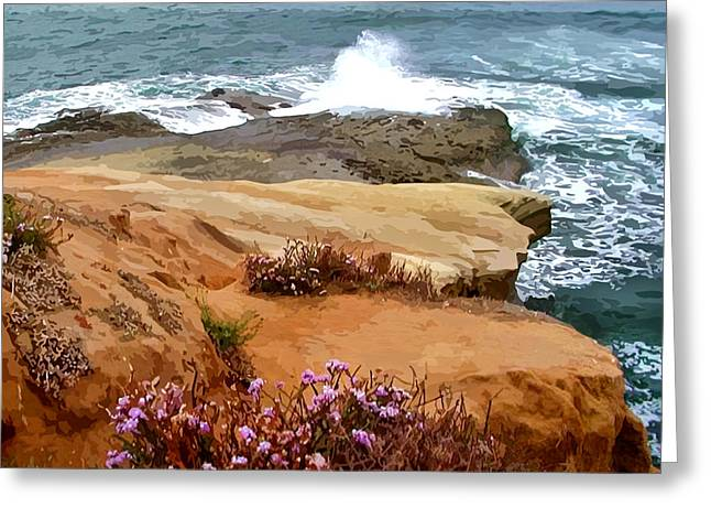 Crashing Waves On Rocky Outcropping Greeting Card by Elaine Plesser