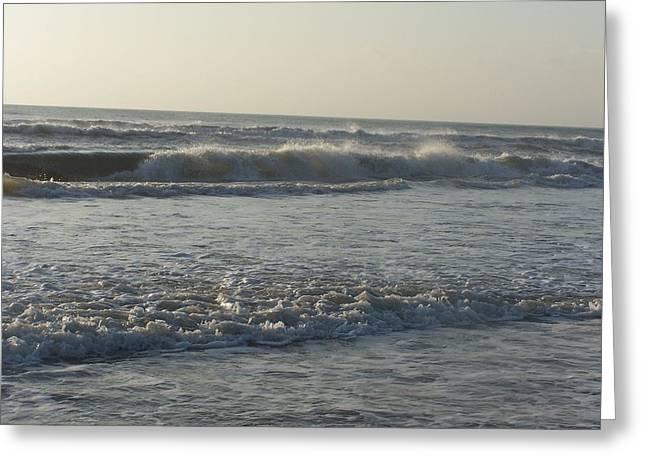 Crashing Waves On The Beach Greeting Card by Angela Prandini